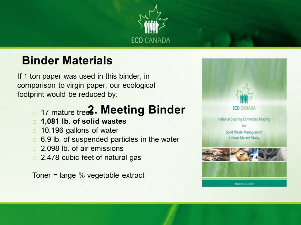 Binder Materials 2. Meeting Binder