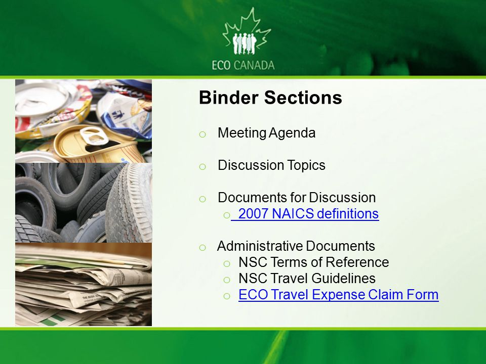 Binder Sections Meeting Agenda Discussion Topics