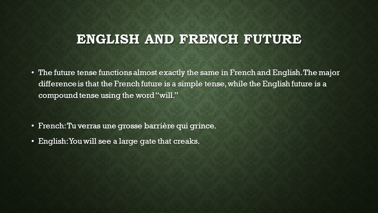 English and French Future
