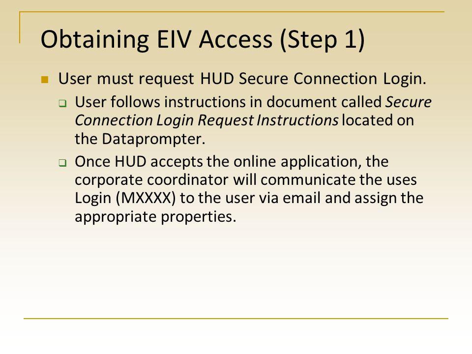 Obtaining EIV Access (Step 1)