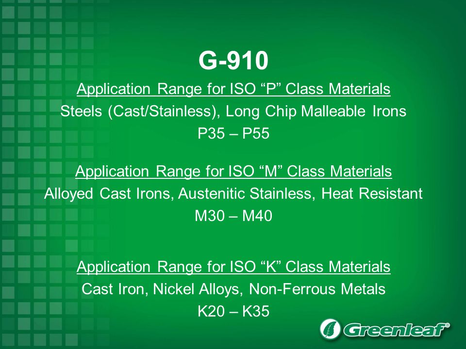 G-910 Application Range for ISO P Class Materials