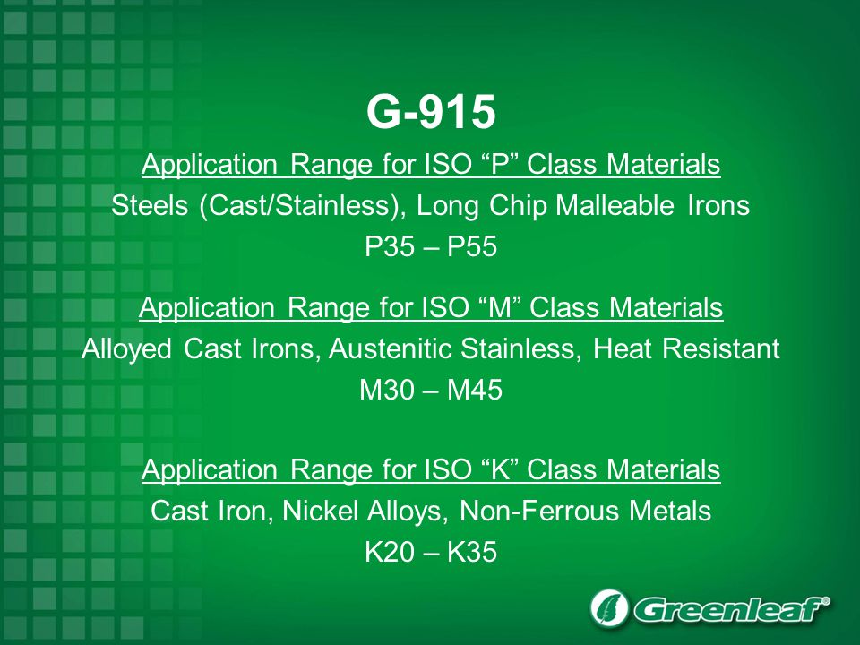 G-915 Application Range for ISO P Class Materials