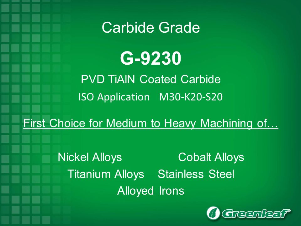 G-9230 Carbide Grade PVD TiAlN Coated Carbide