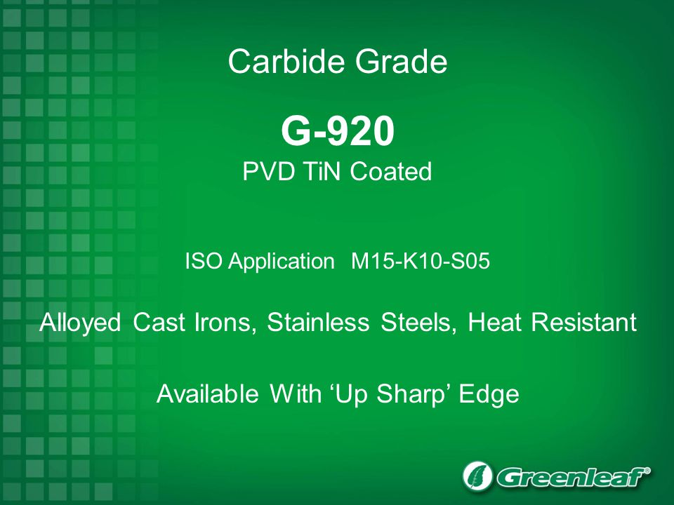 G-920 Carbide Grade PVD TiN Coated