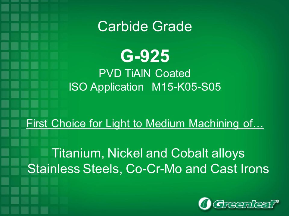 G-925 Carbide Grade Titanium, Nickel and Cobalt alloys