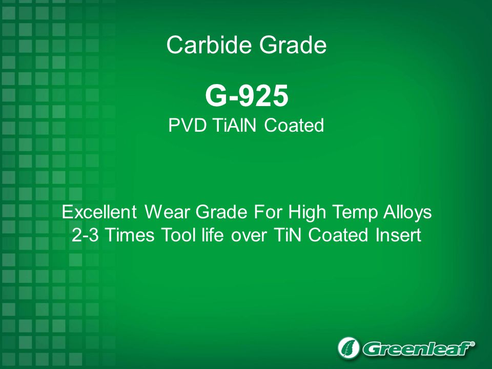 G-925 Carbide Grade PVD TiAlN Coated