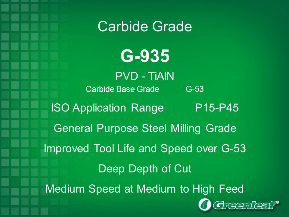 G-935 PVD - TiAlN Carbide Base Grade G-53