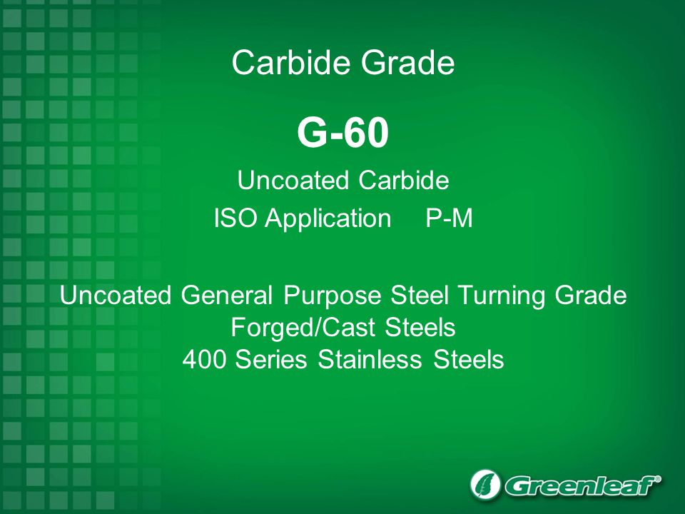 G-60 Uncoated Carbide ISO Application P-M