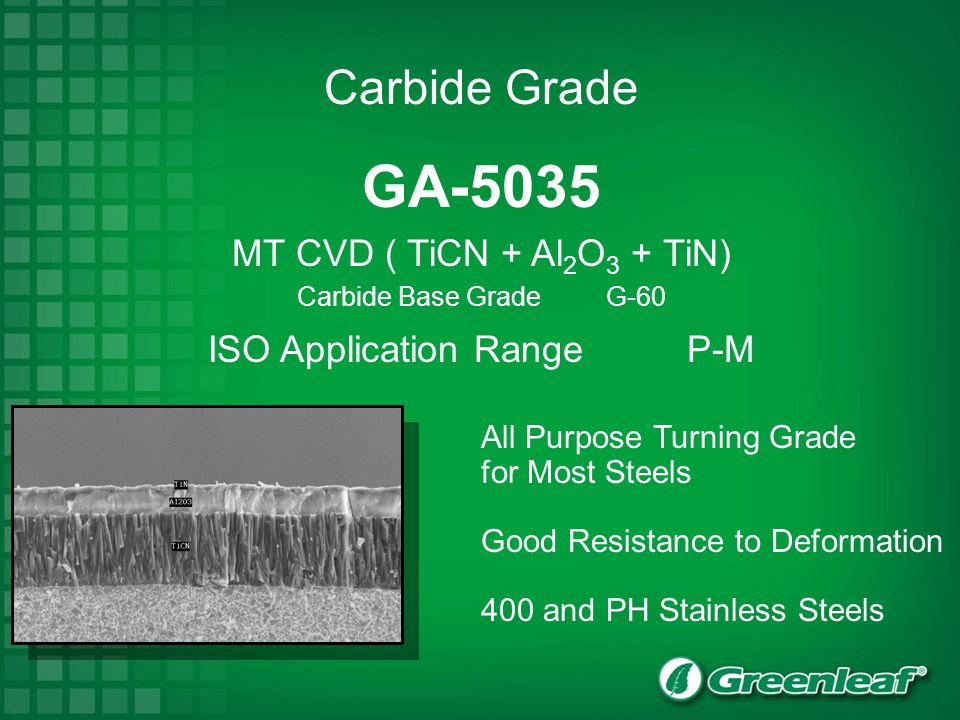 GA-5035 MT CVD ( TiCN + Al2O3 + TiN) Carbide Base Grade G-60