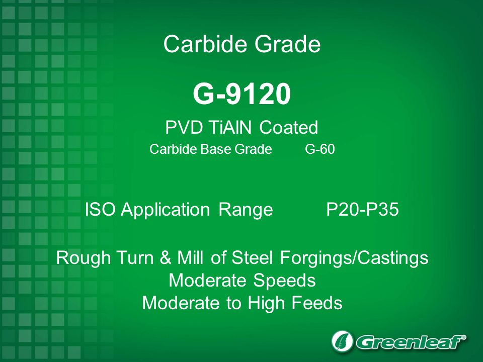 G-9120 PVD TiAlN Coated Carbide Base Grade G-60