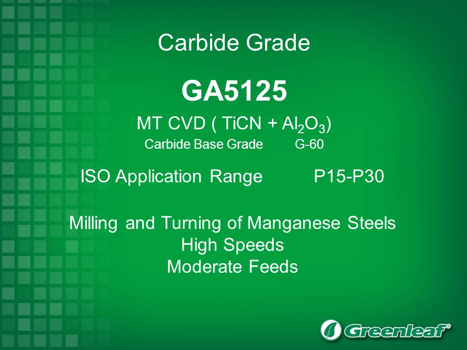 GA5125 Carbide Grade MT CVD ( TiCN + Al2O3)