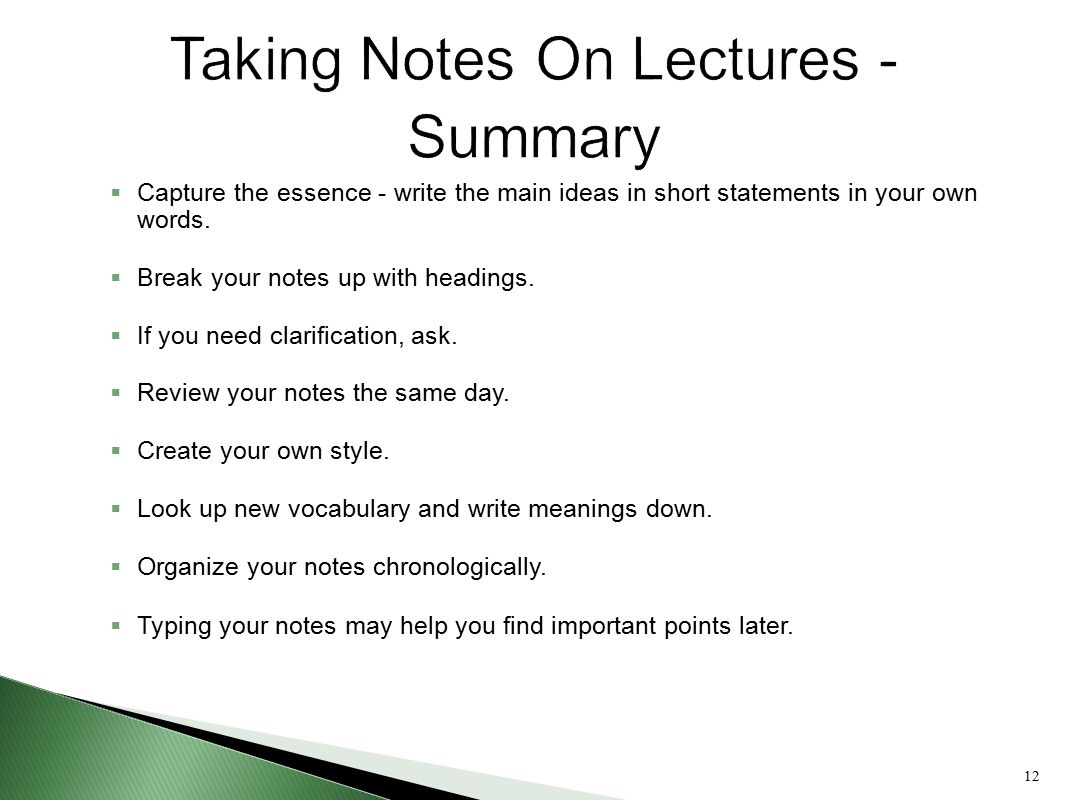 Taking Notes On Lectures - Summary