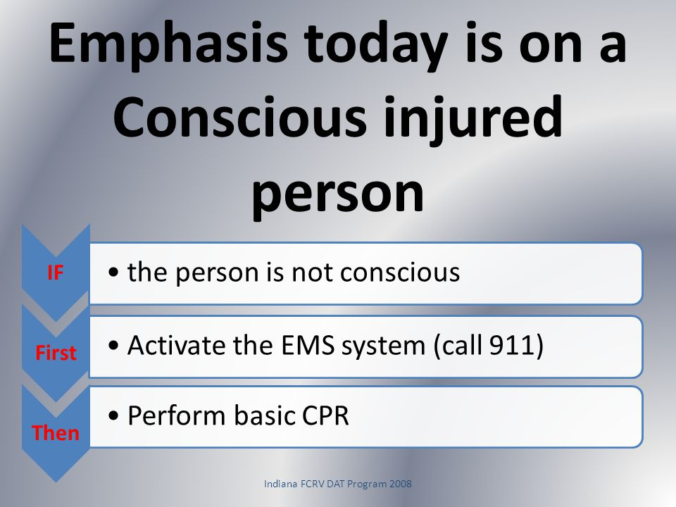 Emphasis today is on a Conscious injured person