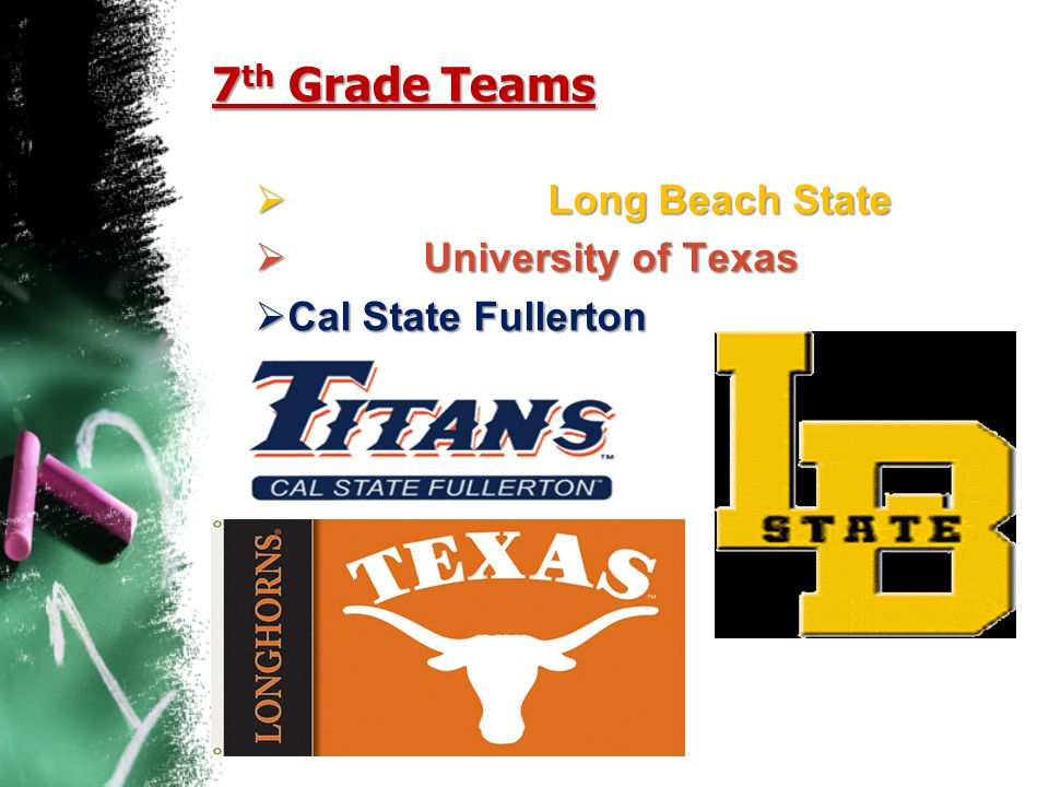 7th Grade Teams Long Beach State University of Texas