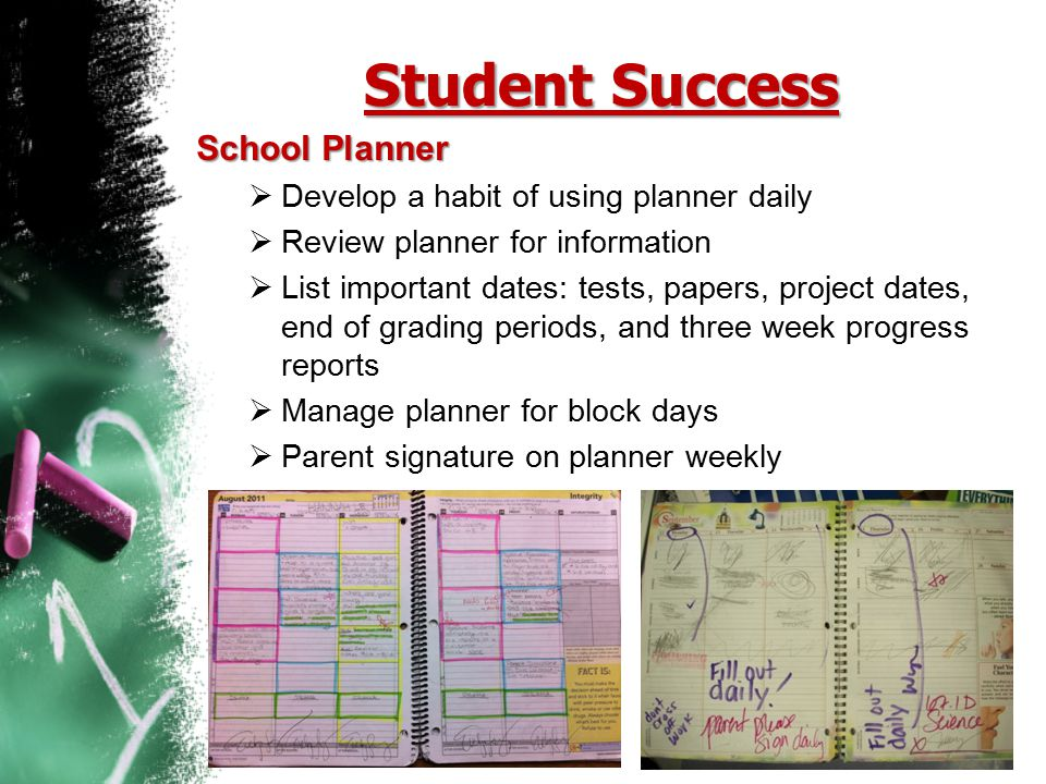 Student Success School Planner Develop a habit of using planner daily