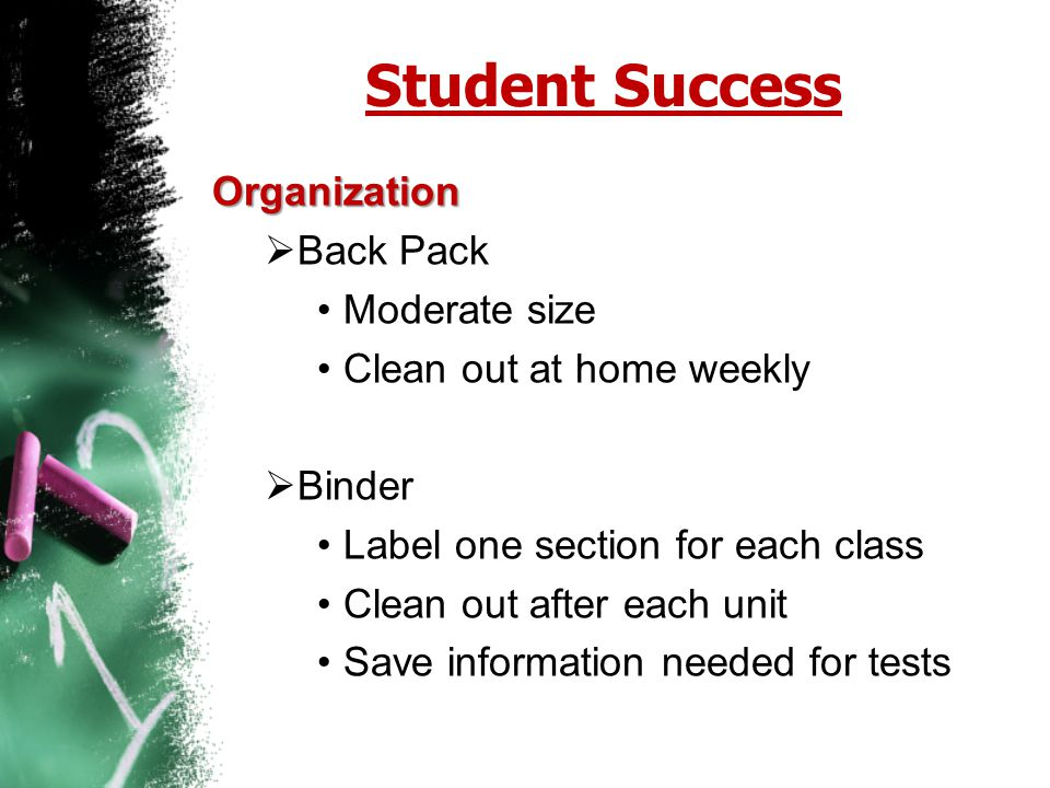 Student Success Organization Back Pack Moderate size