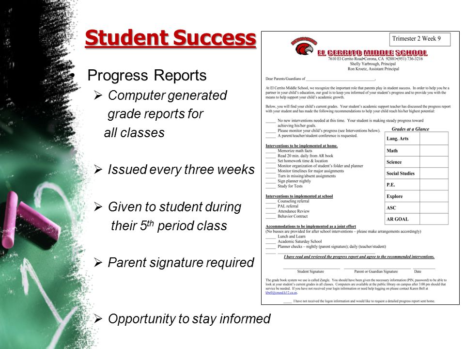 Student Success Progress Reports Computer generated grade reports for