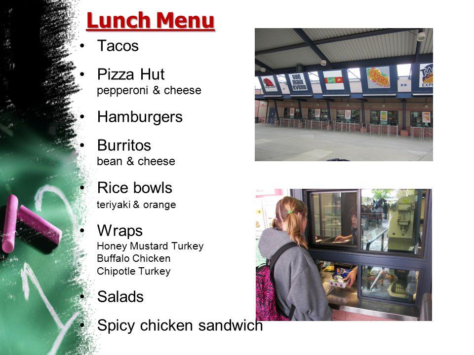 Lunch Menu Tacos Pizza Hut pepperoni & cheese Hamburgers