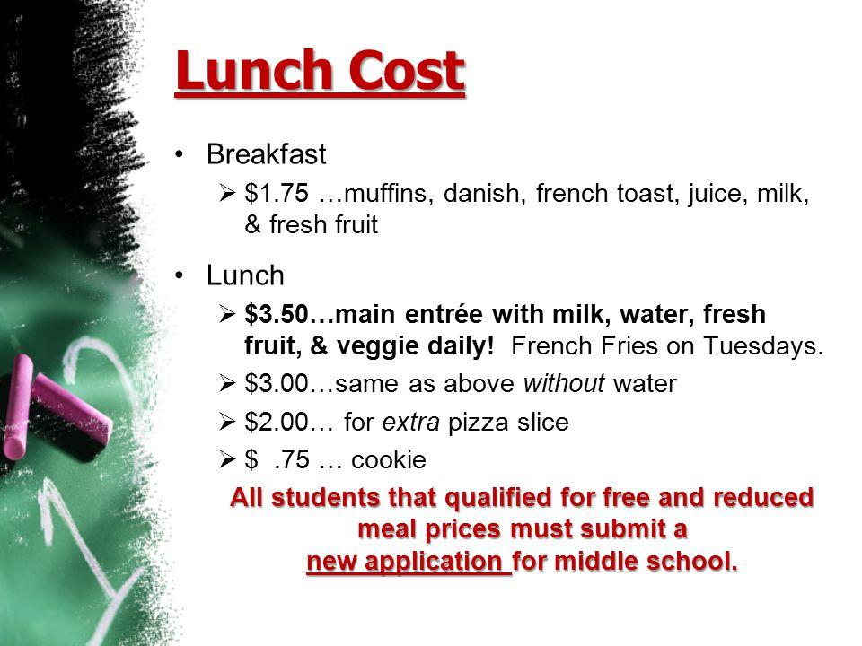 Lunch Cost Breakfast Lunch