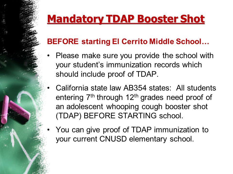 Mandatory TDAP Booster Shot