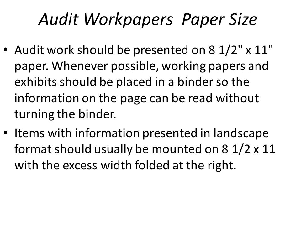 Audit Workpapers Paper Size