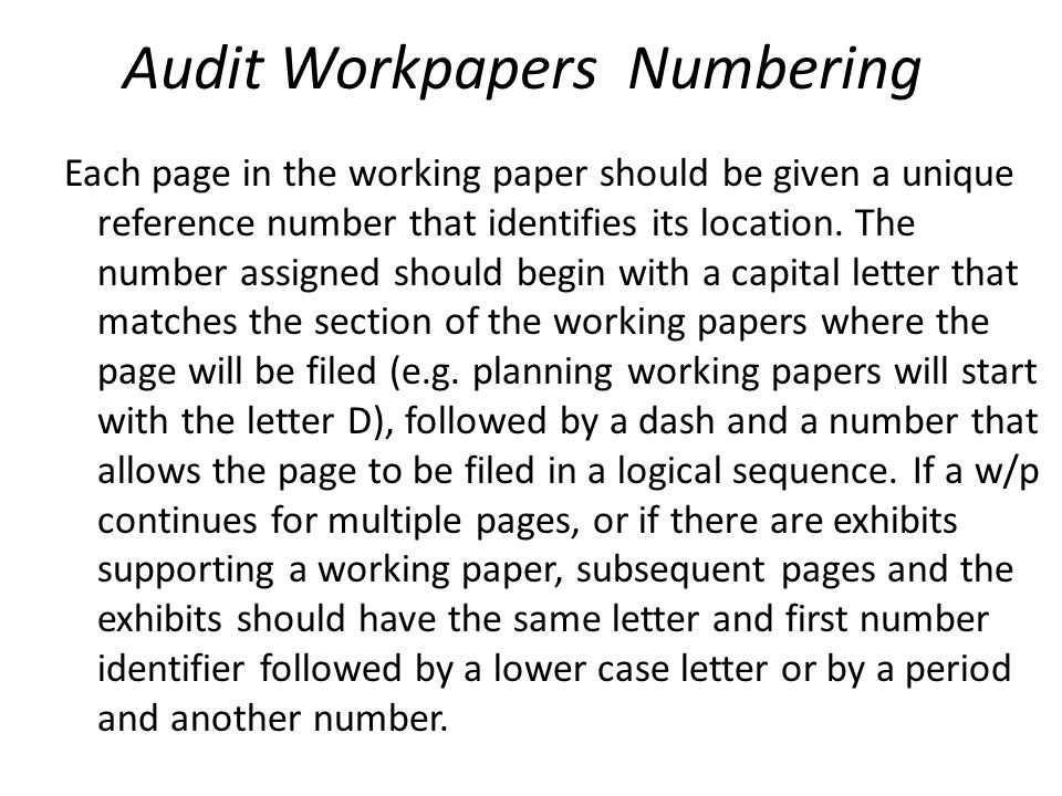 Audit Workpapers Numbering