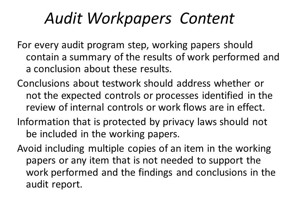 Audit Workpapers Content