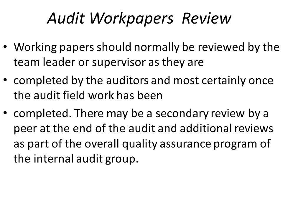 Audit Workpapers Review
