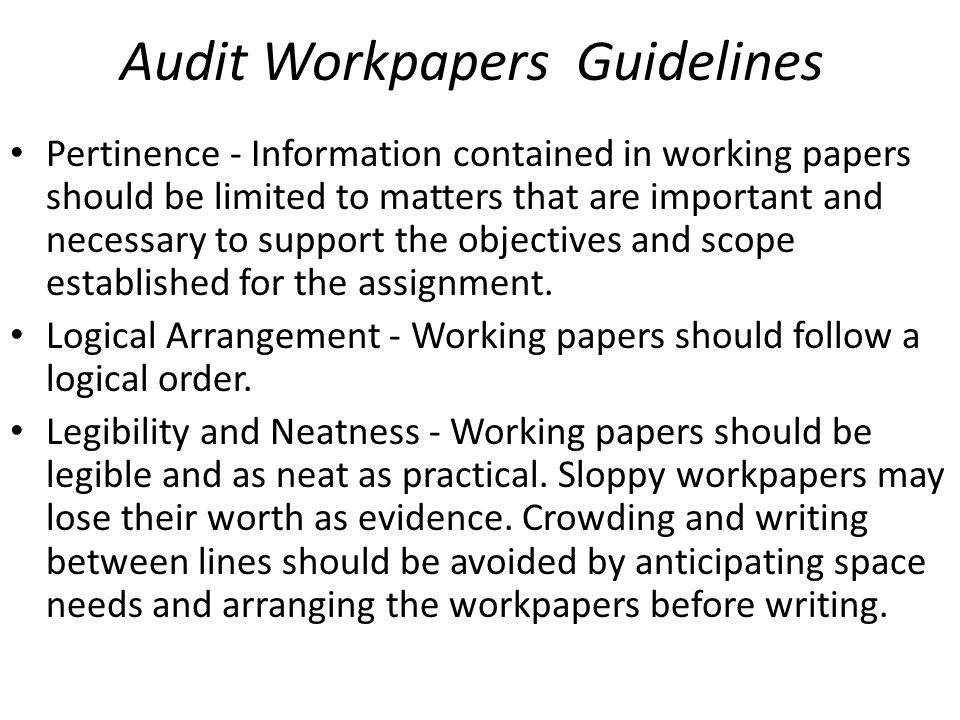 Audit Workpapers Guidelines