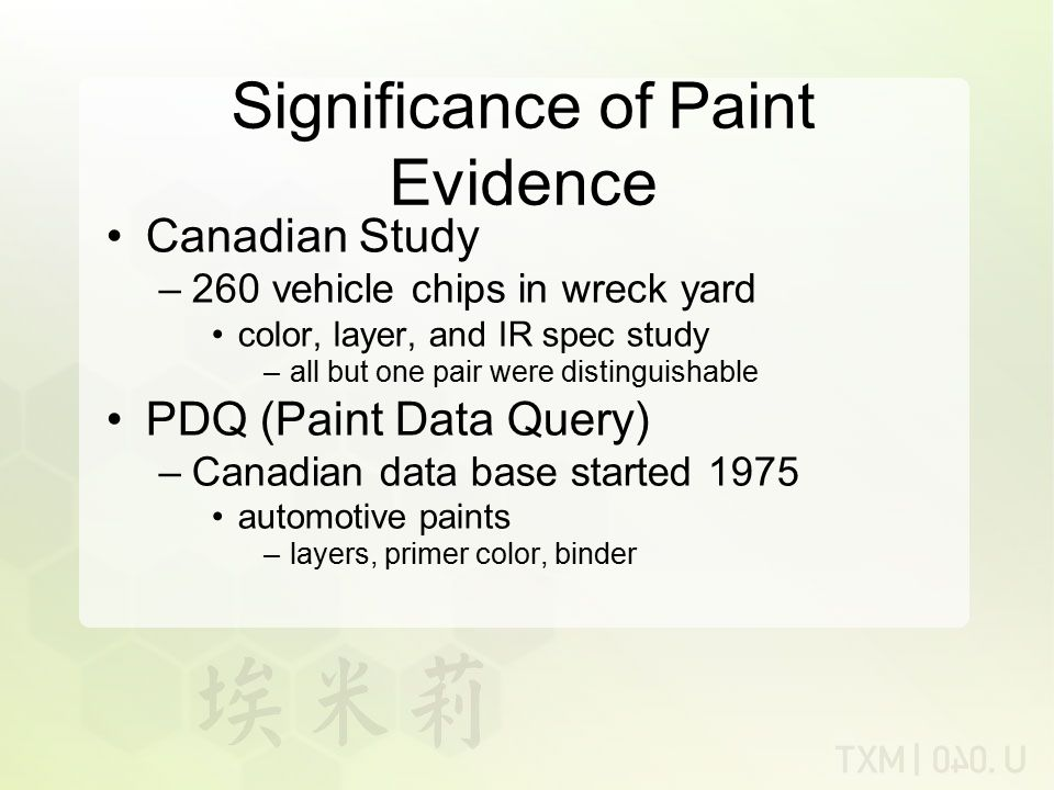 Significance of Paint Evidence