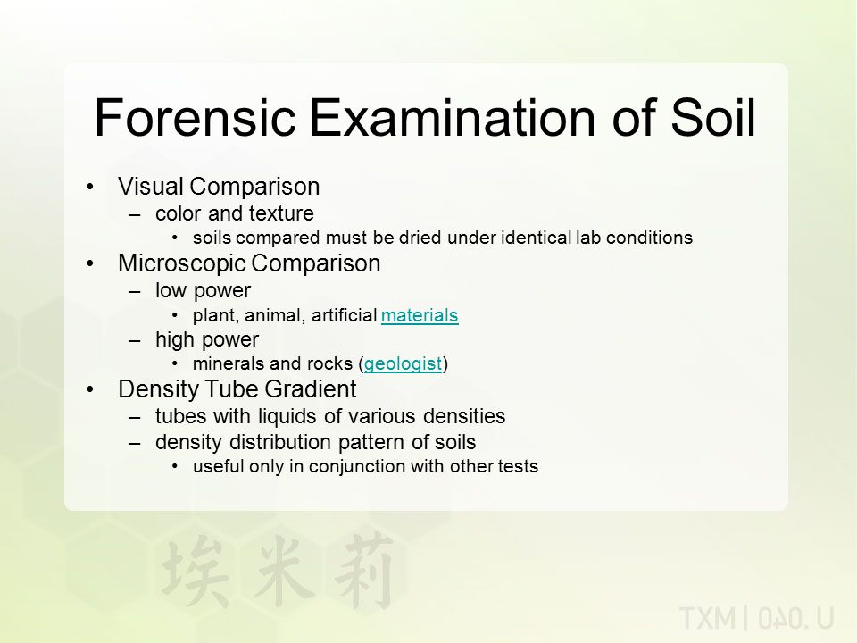 Forensic Examination of Soil