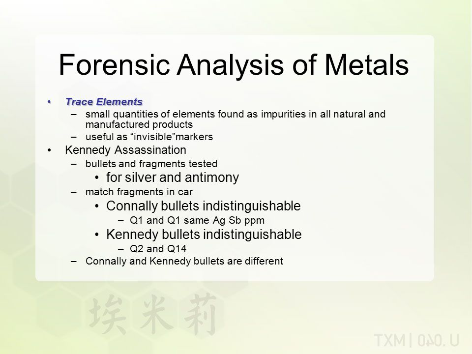Forensic Analysis of Metals