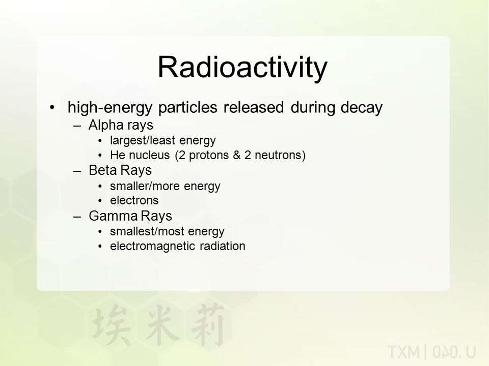 Radioactivity high-energy particles released during decay Alpha rays