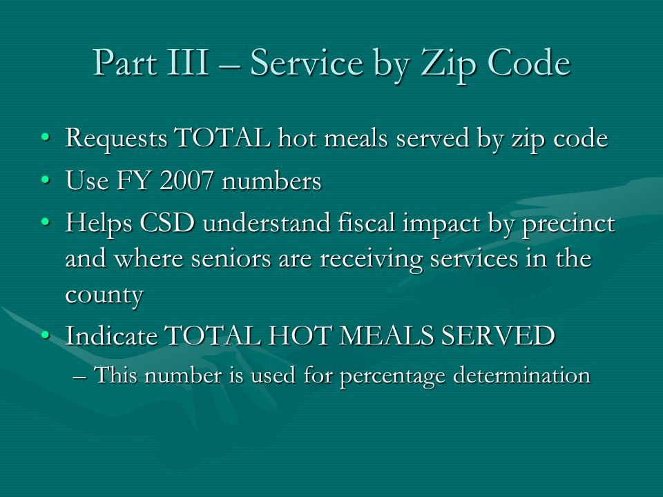 Part III – Service by Zip Code