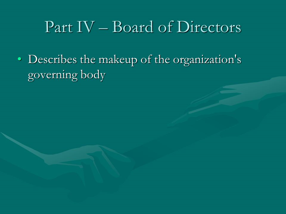 Part IV – Board of Directors