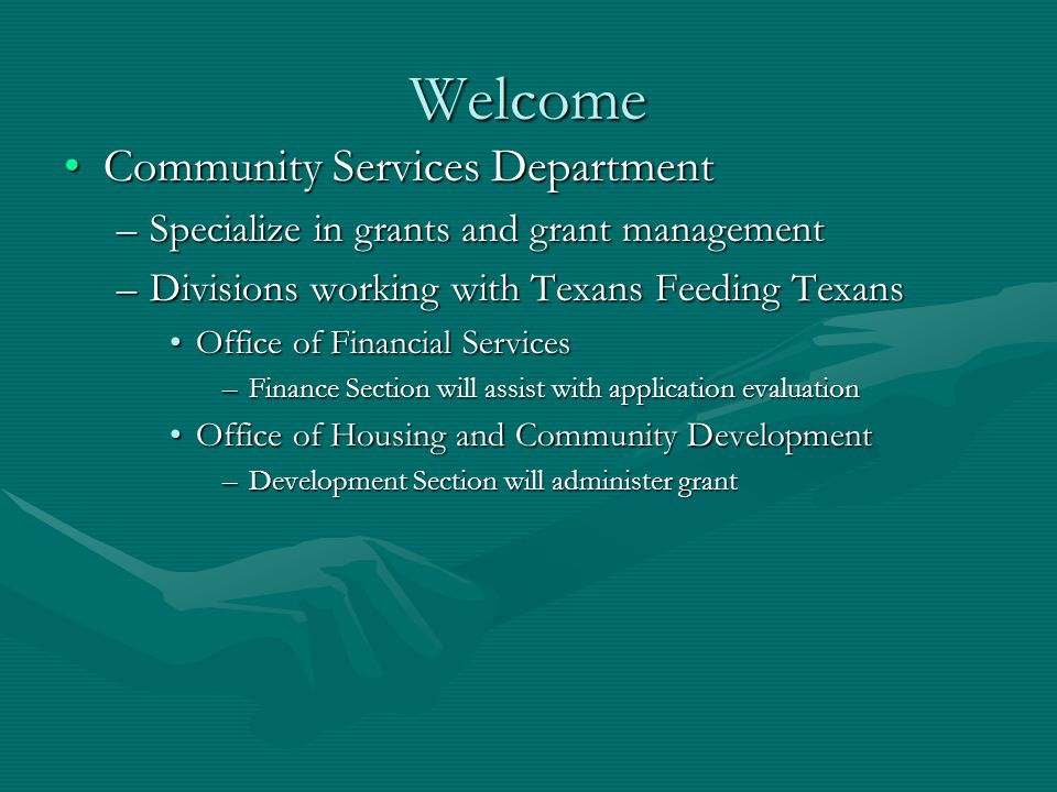 Welcome Community Services Department