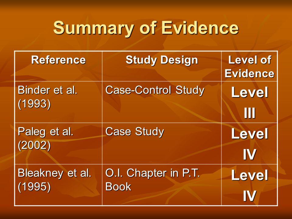 Summary of Evidence Level III IV Reference Study Design