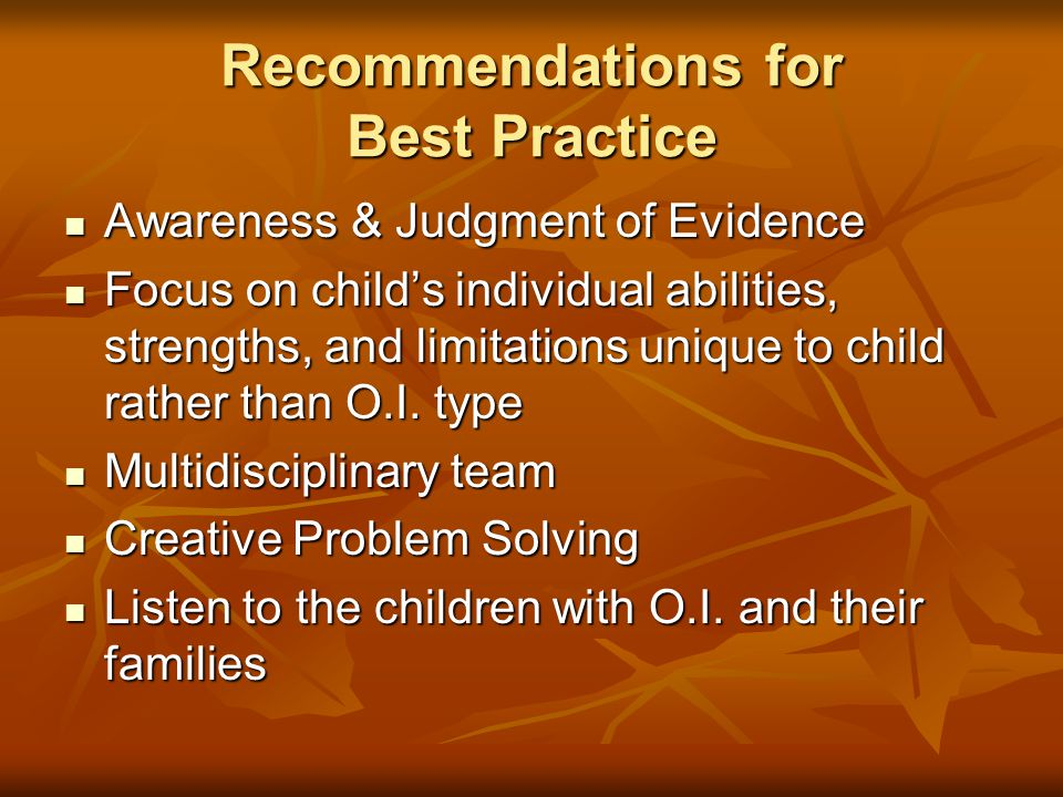 Recommendations for Best Practice