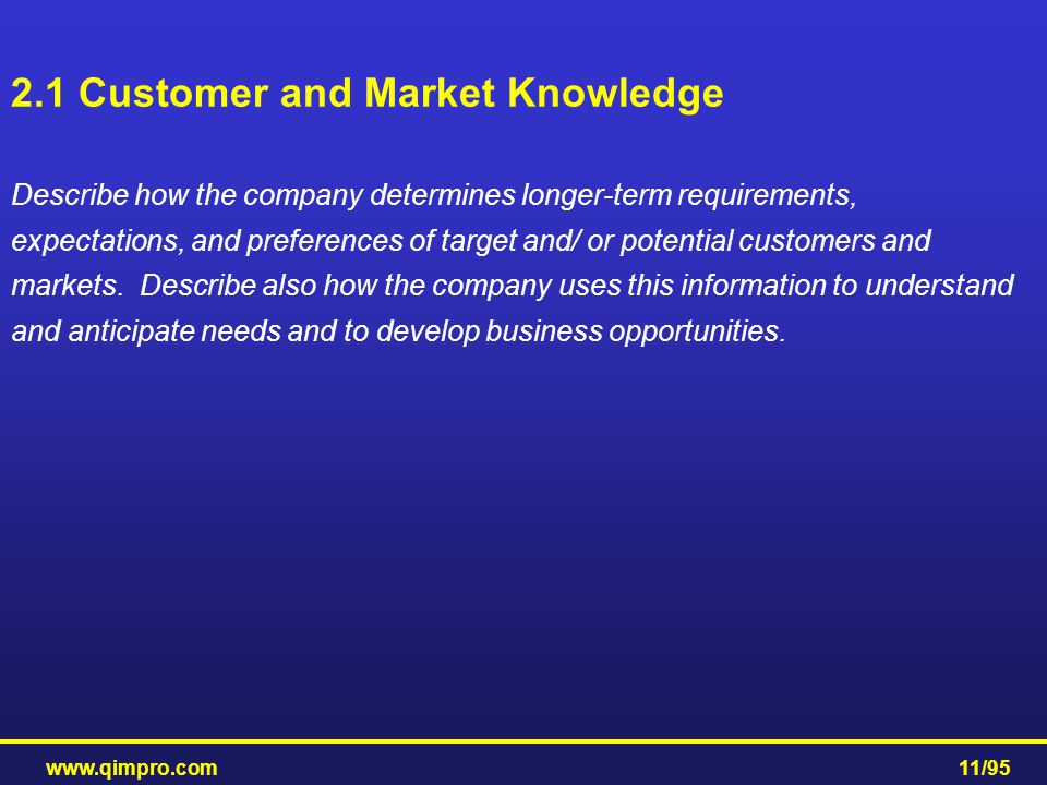 2.1 Customer and Market Knowledge