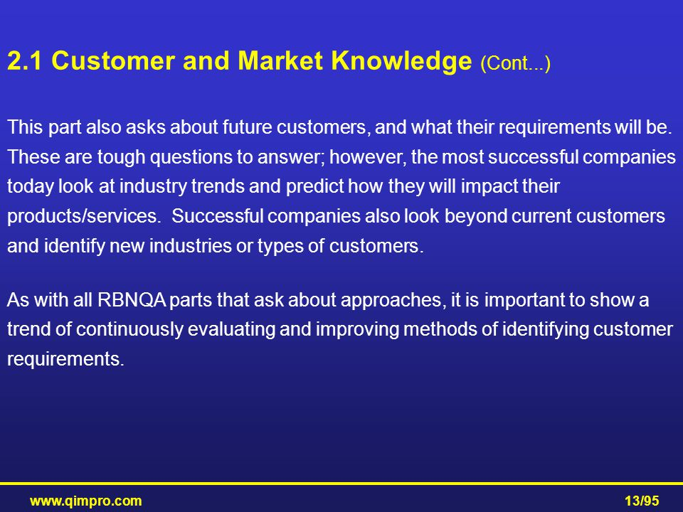 2.1 Customer and Market Knowledge (Cont...)