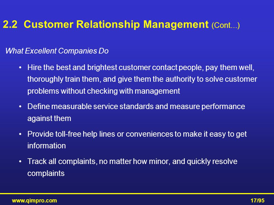 2.2 Customer Relationship Management (Cont...)