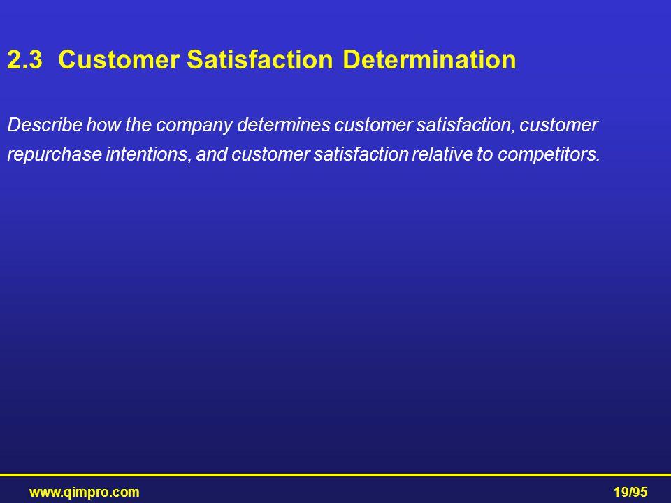 2.3 Customer Satisfaction Determination