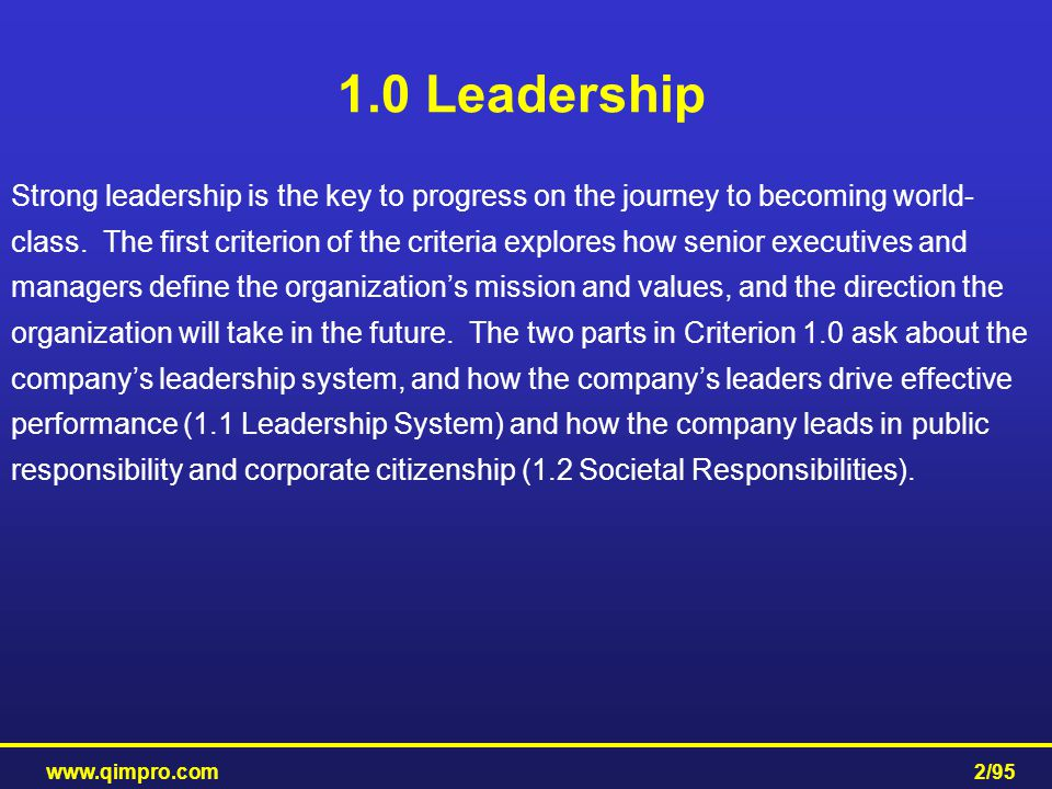 1.0 Leadership