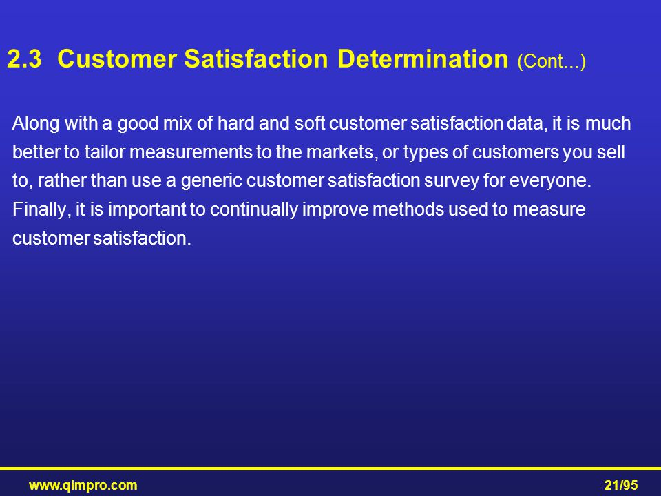 2.3 Customer Satisfaction Determination (Cont...)