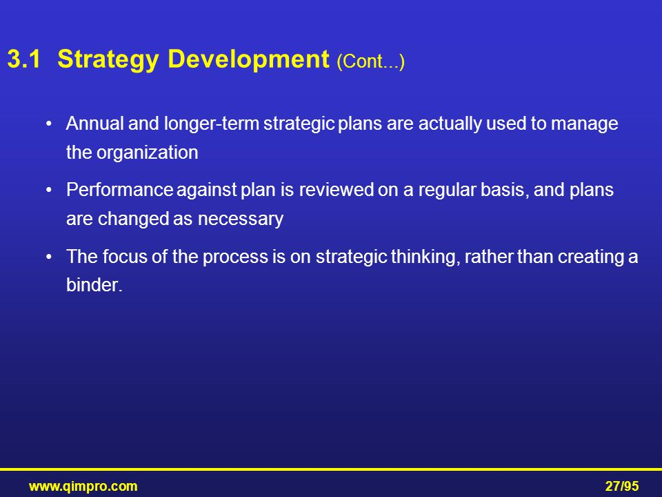 3.1 Strategy Development (Cont...)