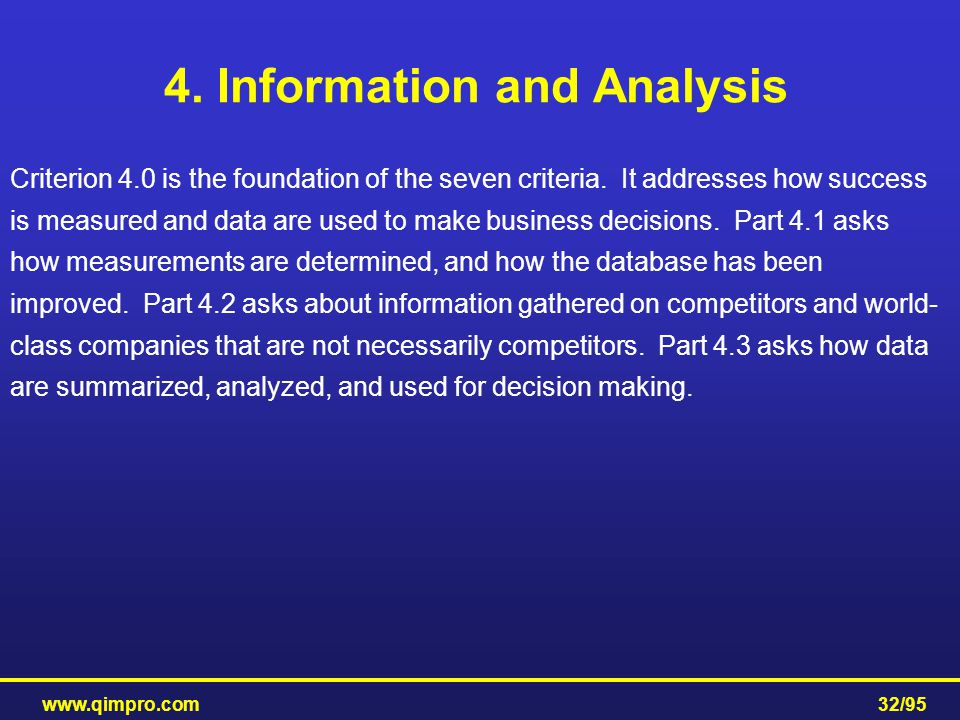 4. Information and Analysis