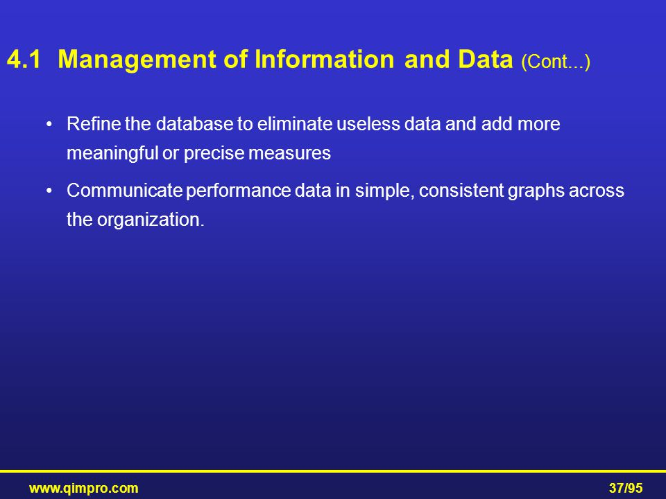 4.1 Management of Information and Data (Cont...)