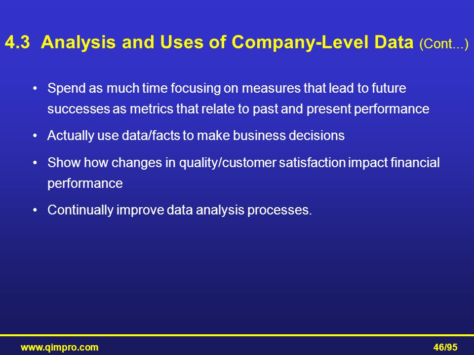 4.3 Analysis and Uses of Company-Level Data (Cont...)