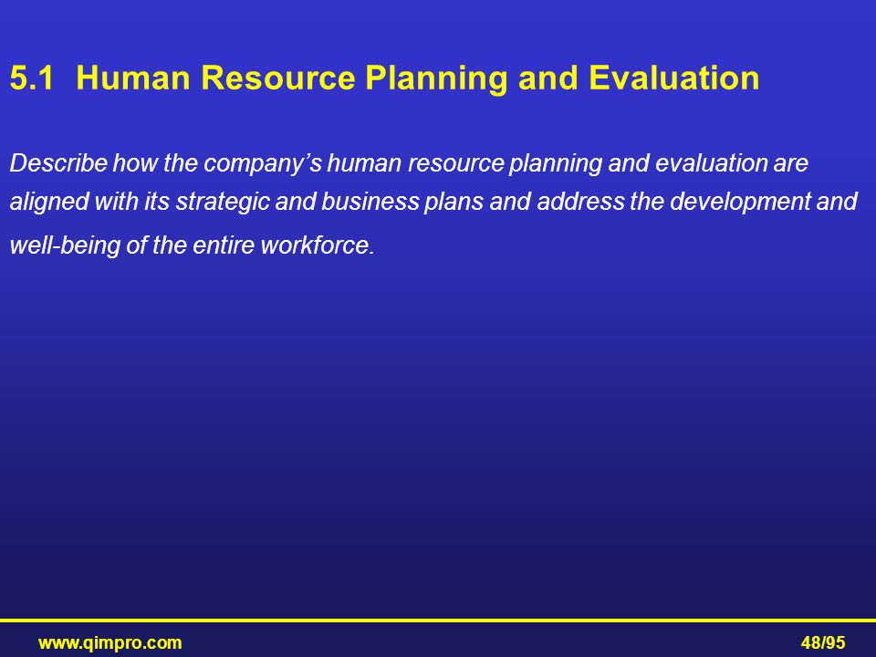5.1 Human Resource Planning and Evaluation