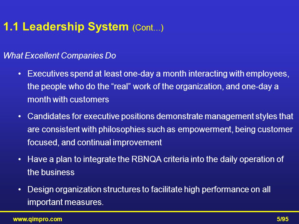 1.1 Leadership System (Cont...)